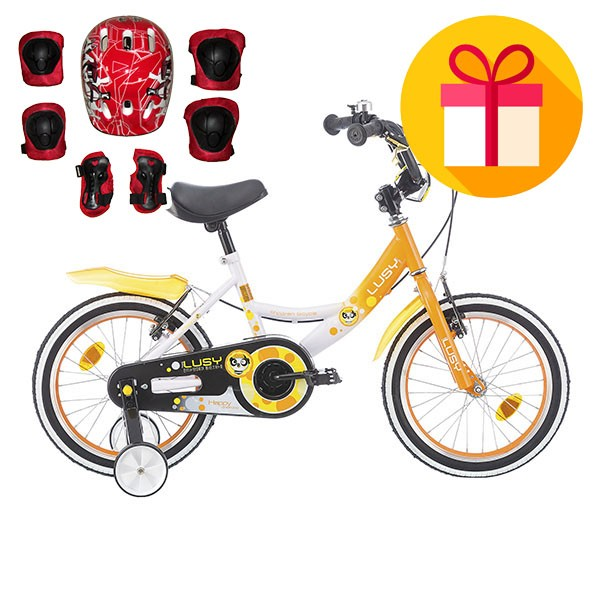 "Детско колело LUSY 14"" + подарък комплект каска с наколенки"