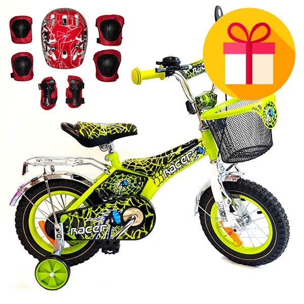 "Детско колело Racer 12""  + подарък комплект каска с наколенки"
